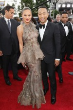 Chrissy Teigen (wearing Marchesa) and John Legend